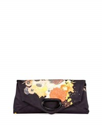 Dries Van Noten Floral Envelope Clutch Bag Black Black Pattern