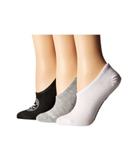 Converse 3 Pack Classic Chuck Patch Made For Chuck Black White Grey Low Cut Socks Shoes