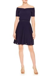 Sandro Off The Shoulder Textured Fit And Flare Dress Navy Blue