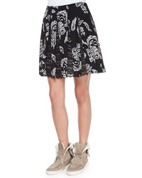 Thakoon Addition Lace Inset Pleated Skirt Size 6 Black Multi