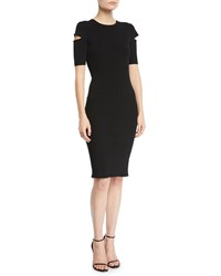 Helmut Lang Slash Short Sleeve Crewneck Dress Black