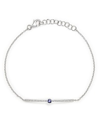 Bloomingdale's Sapphire And Diamond Bar Bracelet In 14K White Gold Blue White