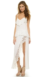 Shakuhachi Stevie Lace Trim Split Dress White