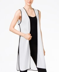 Kensie Long Colorblocked Vest White Comb
