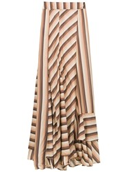Amir Slama Striped Long Skirt Brown