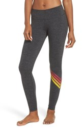 Aviator Nation Chevron Leggings Charcoal Red