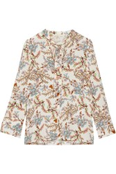 Maje Pussy Bow Floral Print Crepe De Chine Blouse White
