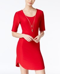Planet Gold Juniors' Necklace Bodycon Dress Red
