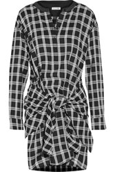Rag And Bone Tie Front Plaid Cotton Twill Shirt Dress Black