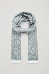 Cos Wool Scarf With Curly Fringing Grey