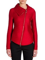Giorgio Armani Matelasse Silk And Wool Asymmetrical Zip Jacket Red Matelasse