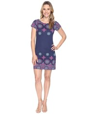 Hatley Tee Shirt Dress Navy Fuchsia Tiled Mandella Women's Dress