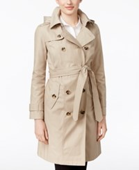 London Fog Petite Hooded All Weather Trench Coat Stone