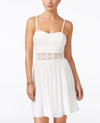 Amy Byer Bcx Juniors' Lace Illusion Waist Fit And Flare Dress White