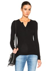 Atm Anthony Thomas Melillo Rib Henley Tee In Black
