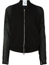 Lost And Found Rooms Sheer Sleeve Bomber Jacket Black