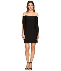 Laundry By Shelli Segal Long Wrap Slit Sleeve Off The Shoulder Cocktail Dress Black Women's Dress