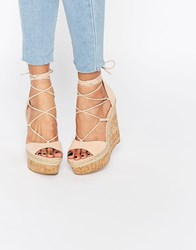 Asos Tammi Lace Up Wedge Sandals Pink