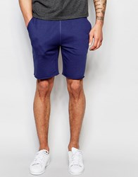 Asos Mid Length Jersey Shorts In Blue Pitch Blue Black