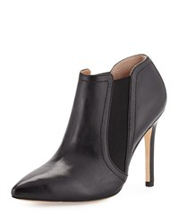 Halston Wendy Pointed Toe Leather Bootie Black