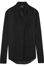 Anthony Vaccarello Pintucked Wool Blend Shirt Black