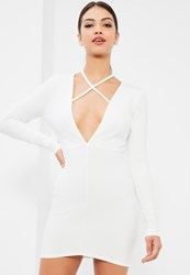 Missguided White Tie Neck Plunge Long Sleeve Bodycon Dress