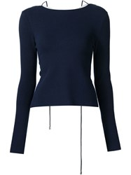 Rosie Assoulin Racer Back Sweater Blue