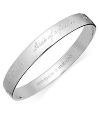 Kate Spade New York Bridesmaid Engraved Idiom Bangle Bracelet Silver Tone