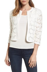 Anne Klein Women's Floral Embroidered Mesh Cardigan White