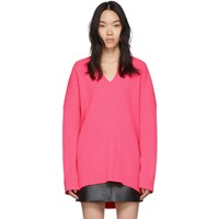 Balenciaga Pink Knit V Neck Sweater
