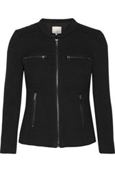 Joie Jenika Textured Cotton Blend And Woven Jacket Black