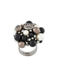 Chanel Vintage Pearl Embellished Ring Metallic