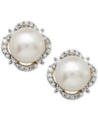 Macy's Cultured Freshwater Pearl 7Mm And Diamond 1 6 Ct. T.W. Halo Stud Earrings In 14K Gold