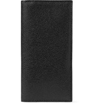 Valextra Pebble Grain Leather Travel Wallet Black