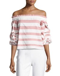 Alexis Juneau Wide Stripe Off The Shoulder Top Pink White Pink Pattern