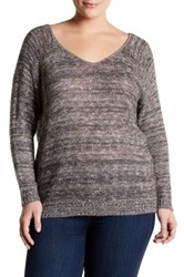 14Th And Union Double V Neck Sweater Plus Size Multi