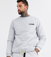 Ellesse Anat Quilted Ripstop Crew Neck Sweat In Grey Exclusive At Asos