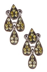 Sterling Silver Cz Embellished Mini Chandelier Earrings No Color