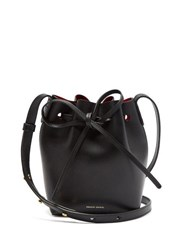 Mansur Gavriel Red Lined Mini Mini Leather Bucket Bag Black Multi