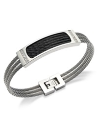 Macy's Men's Three Row Cable And Diamond Bracelet In Stainless Steel 1 6 Ct. T.W.