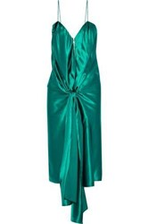 Vionnet Tie Front Silk Satin Dress Jade