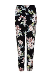 Quiz Black Crepe Flower Print Trousers