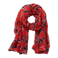 Betty And Co. Barclay Graphic Long Scarf Red Blue