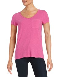 Lord And Taylor Solid V Neck Tee Zinnia