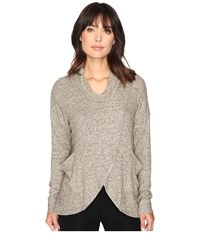 Culture Phit Leona Long Sleeve Cowl Neck Sweater With Pockets Oatmeal Women's Sweater Brown