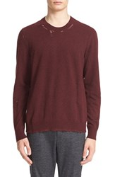 Lanvin Men's Ripped Crewneck Sweater Burgundy