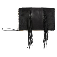 Oasis Middle Fringe Felicity Clutch Bag Black