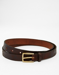 Asos Skinny Leather Belt In Brown With Distressing