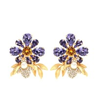 Dolce And Gabbana Crystal Embellished Clip On Earrings Purple