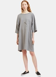 Von Sono Oversized Patch Pocket T Shirt Dress Grey